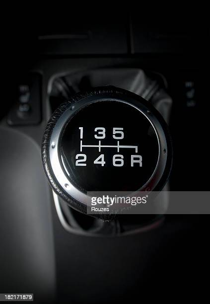 Close-up of six speed manual gear stick in a car