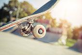 Close up of a skateboard wheel in skatepark