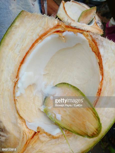 Close-Up Of Sliced Coconut