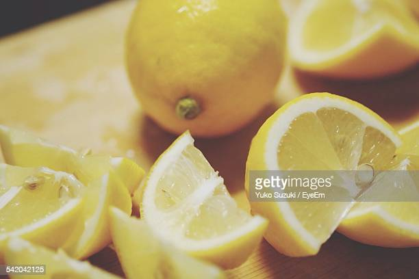 Close-Up Of Sliced Lemons On Table