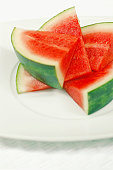 Close-up of sliced watermelon in a plate