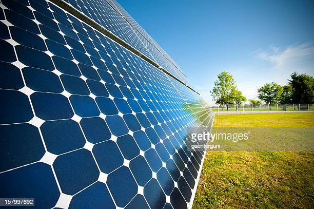 Close-up of solar panel outside on grass photovoltaic
