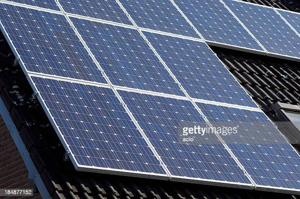 Close-up of solar panels on a roof