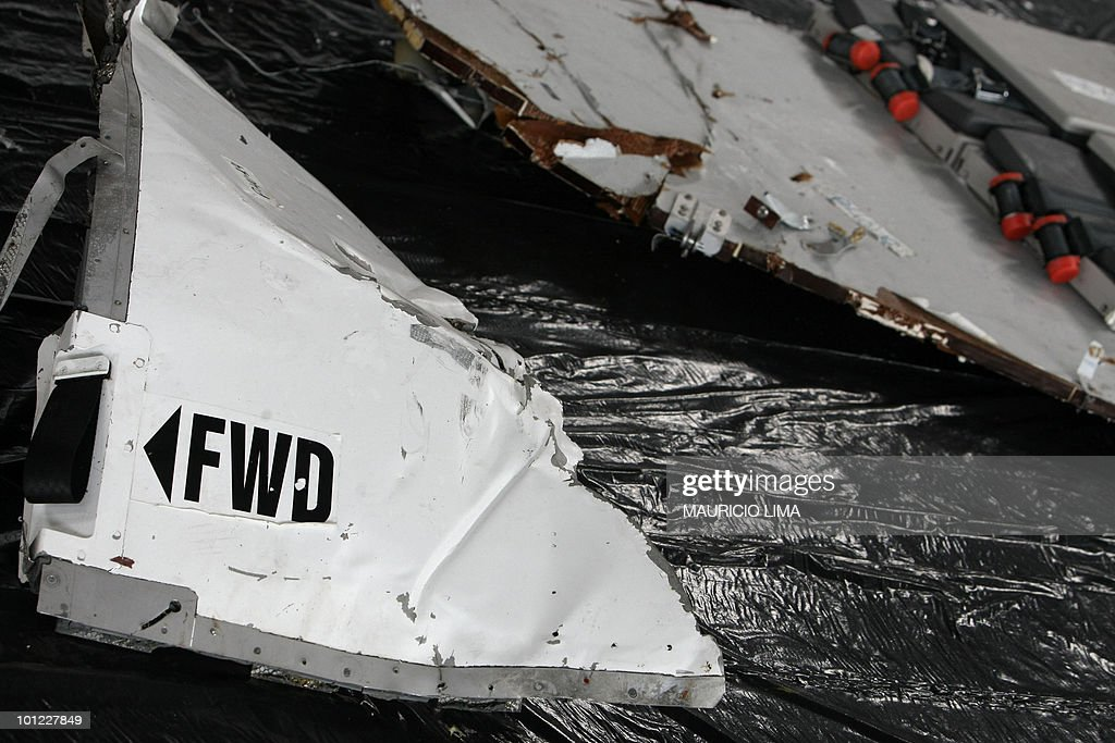 Closeup of some of the first wreckage pieces and objects of the Air France A330 aircraft, flight AF447 lost in midflight over the Atlantic ocean Jene 1st and recovered from the sea, at the airbase hangar, in Recife, northeastern Brazil, on June 12, 2009. The Whether or not the black boxes from Air France flight 447 are found, the crash has shown that new technology is needed to record a flight's last moments in real-time, an aviation expert argues. AFP PHOTO/Mauricio LIMA