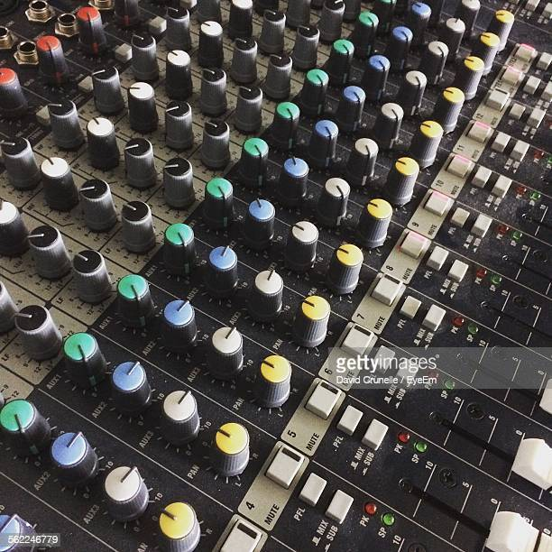 Close-Up Of Sound Mixer At Studio