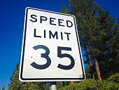 Close-Up Of Speed Limit 35 Sign Against Clear Blue Sky