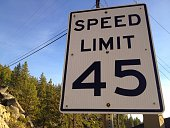Close-Up Of Speed Limit 45 Sign