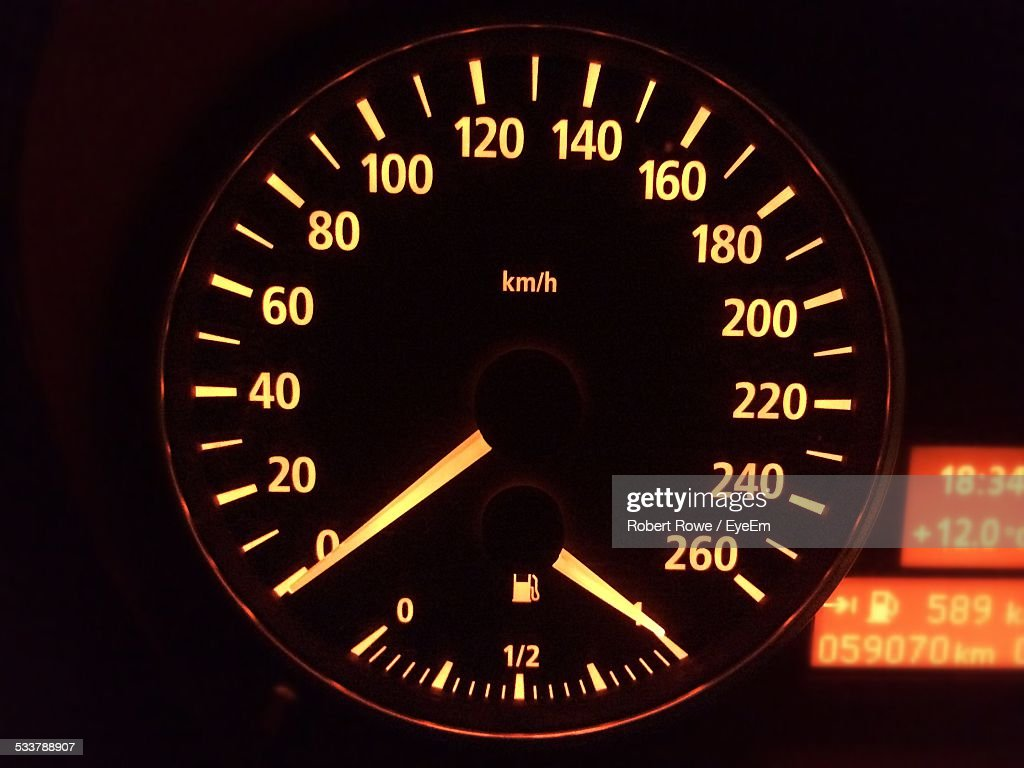 Close-Up Of Speedometer Of Car