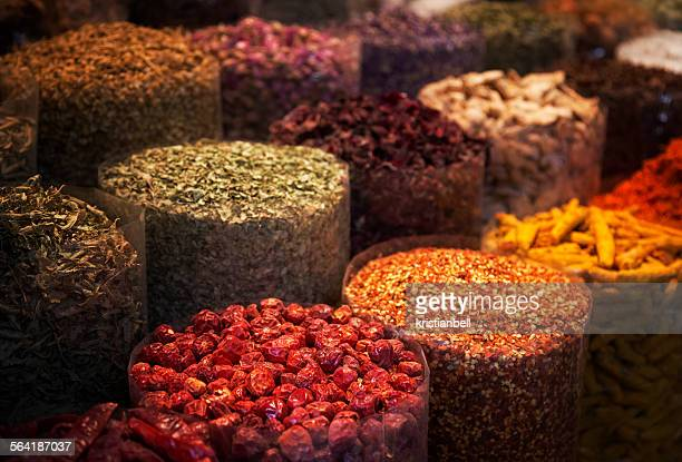Close-up of spices at the old spice market, Dubai