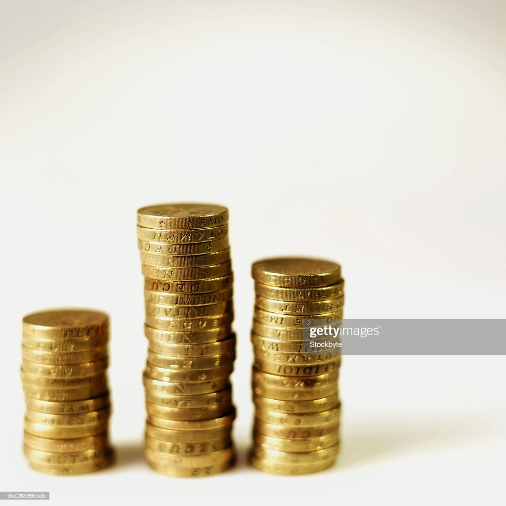 Close-up of stacks of U.K.. coins : Stock Photo