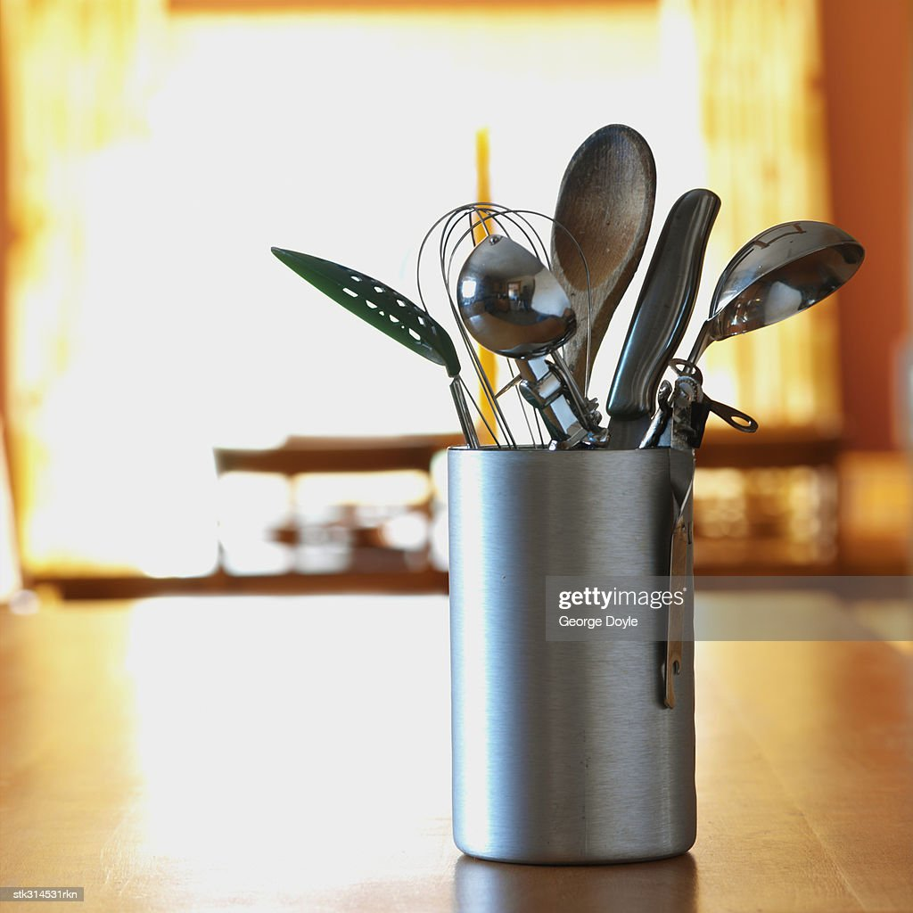 close-up of stainless steel kitchen utensils