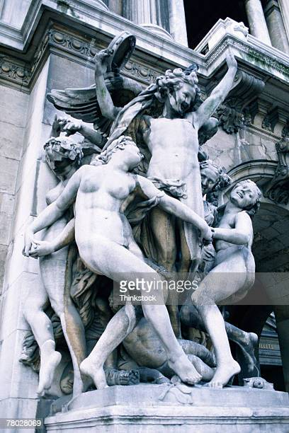 Close-up of statues at the National Opera House in Paris, France.