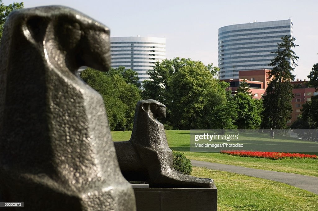Close-up of statues in a park, Arlington, Virginia, USA