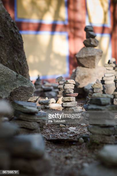 Close-up of Stone Stack near Korean Temple