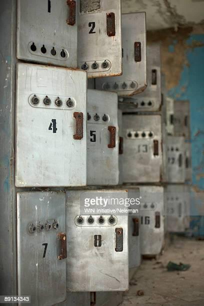 Close-up of storage boxes, Prypiat, Ukraine