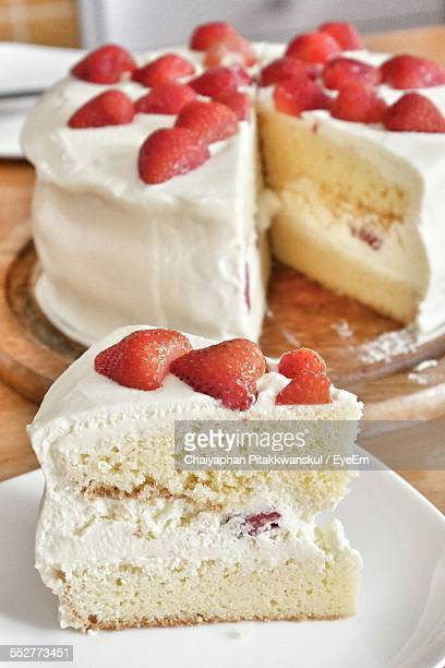 Close-Up Of Strawberry Shortcake On Table