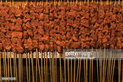 Close-Up Of Street Food Stick in China