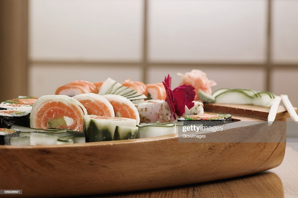 Close-up of sushi in a platter