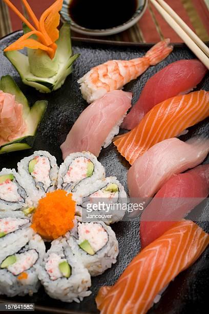 Close-up of sushi in California rolls