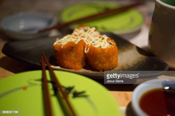 Close-Up of Sushi in japanese restaurant, Hong Kong