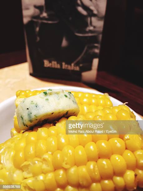 Close-Up Of Sweetcorn In Plate On Table