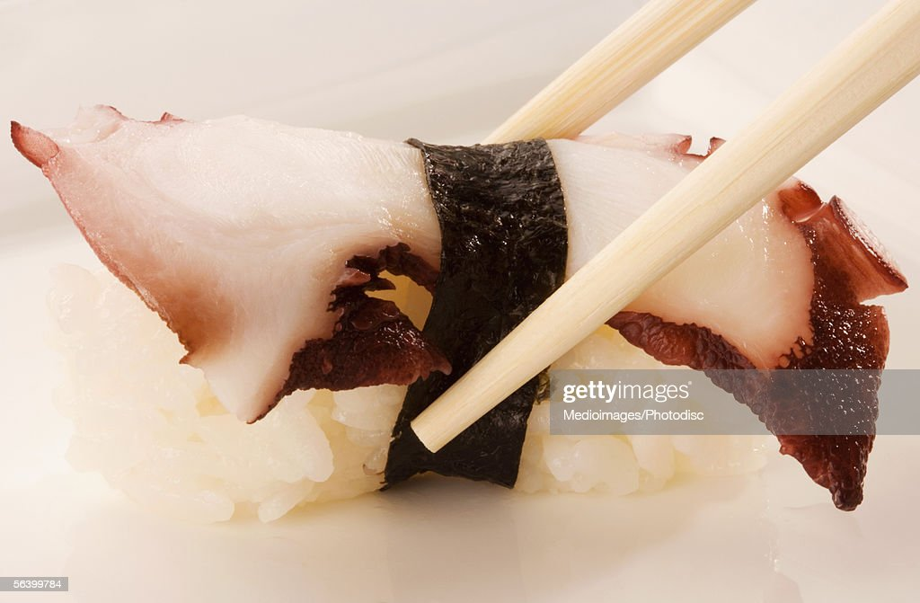 Close-up of Tako Nigiri sushi being held between chopsticks : Stock Photo