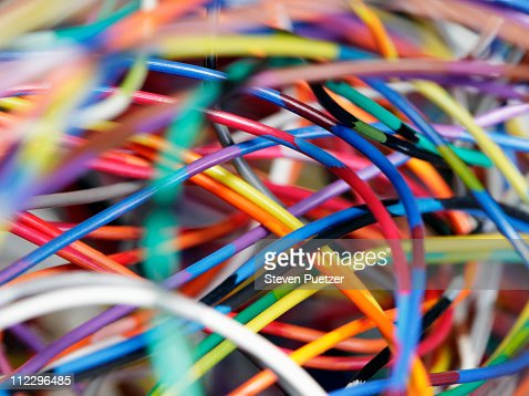 Close-up of tangled colored wires