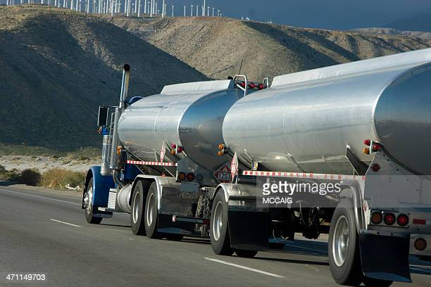 Close-up of tank truck parked along side of road