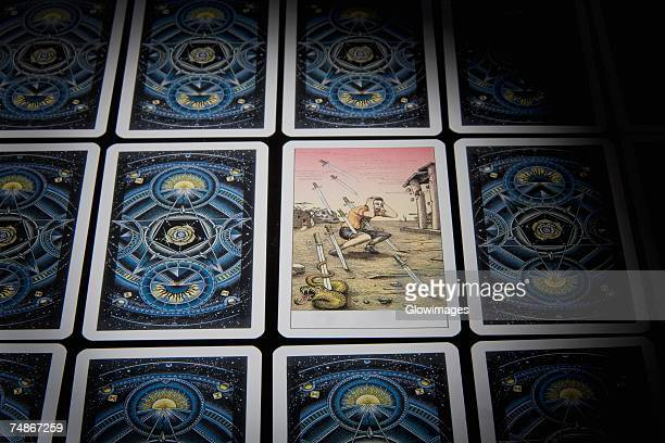 Close-up of tarot cards in a row