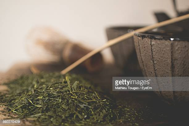 Close-Up Of Tea Leaves On Table