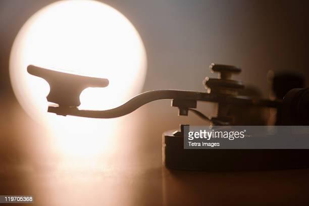 Close-up of telegraph key