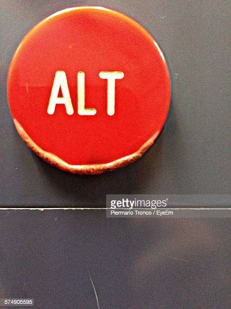 Close-Up Of Text On Red Push Button