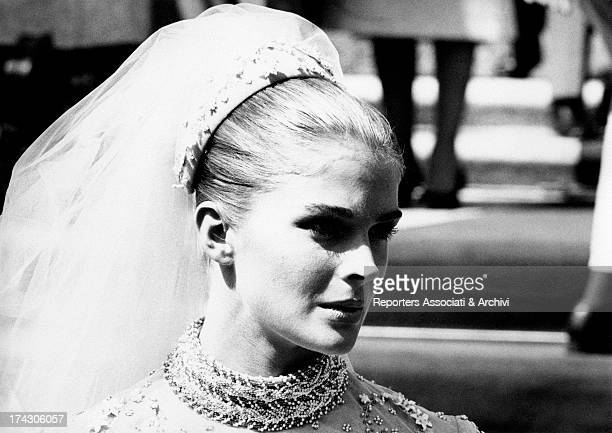 A closeup of the American actress Candice Bergen who is in an elegant wedding gown dressed in the film The Adventurers Iitaly September 1968