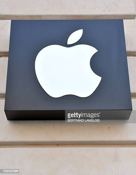Closeup of the Apple logo on the facade of the new Apple store on July 1 near the Opera Garnier in Paris two days prior to its public opening This...