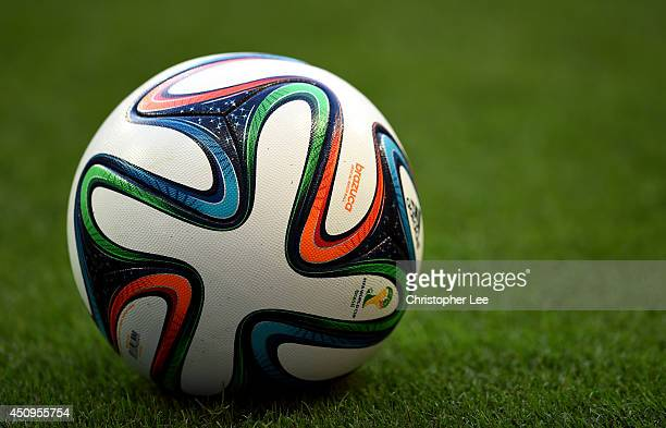 A closeup of the 'Brazuca' match ball during the 2014 FIFA World Cup Brazil Group E match between Switzerland and France at Arena Fonte Nova on June...