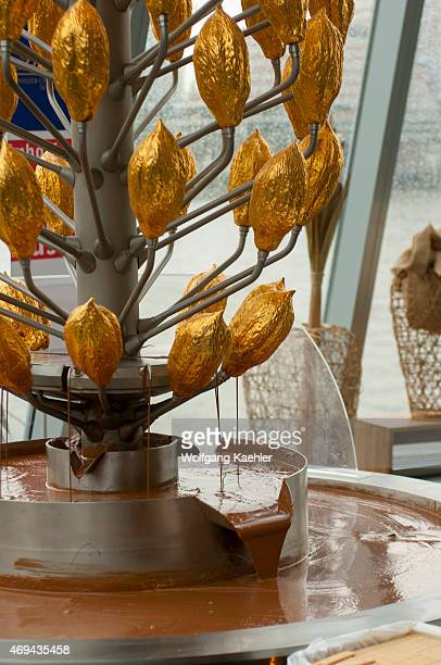 Closeup of the chocolate fountain at the ImhoffSchokoladenmuseum located in the Cologne quarter of AltstadtSüd on the Rheinauhafen peninsula in...