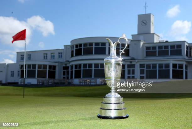 A closeup of the claret jug in font of the clubhouse after the Open Championship press conference in the clubhouse of Royal Birkdale Golf Club on...