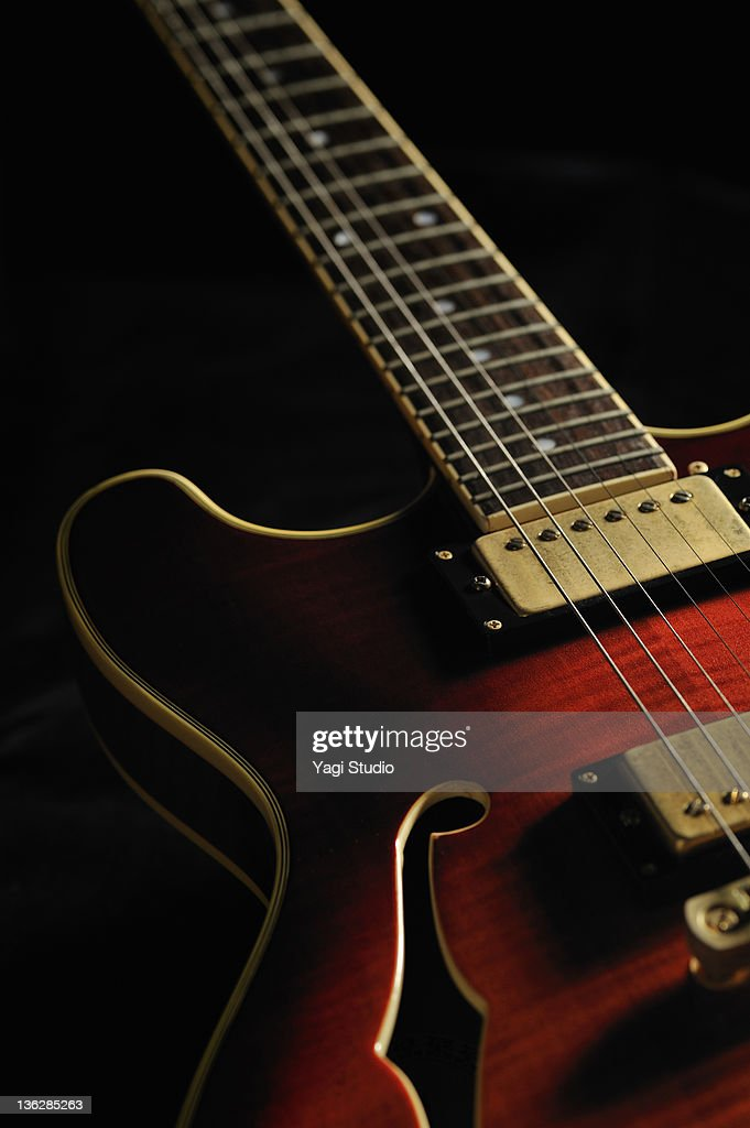 Close-up of the electric guitar