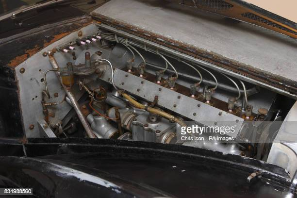 A closeup of the engine compartment of a rare 1937 Bugatti Type 57S in Hartley Witney Hampshire which will go to auction at Bonhams' Retromobile sale...