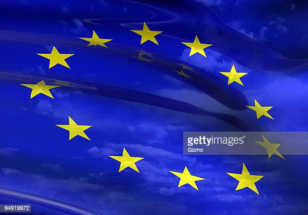 A close-up of the EU flag which is blue with yellow stars
