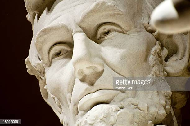 Close-up of the face of Abraham Lincoln Memorial