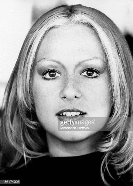 Closeup of the face of the smiling Loretta Goggi Italian singer actress presenter show girl and impersonator Loretta Goggi is known as enfant prodige...
