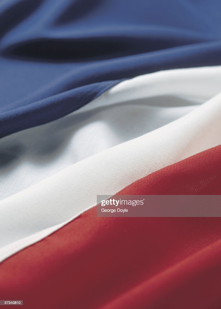 Close-up of the flag of France : Stock Photo