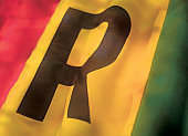 close-up of the flag of Guinea