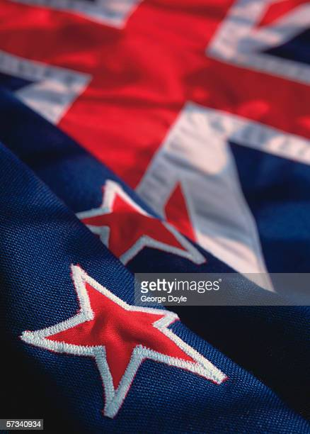 close-up of the flag of New Zealand