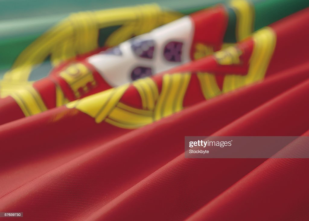 Close-up of the flag of Portugal : Stock Photo