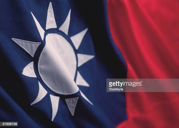 close-up of the flag of Taiwan