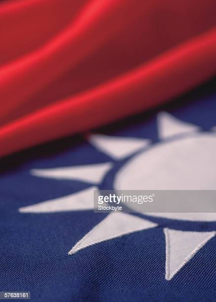 close-up of the flag of Taiwan (blurred)
