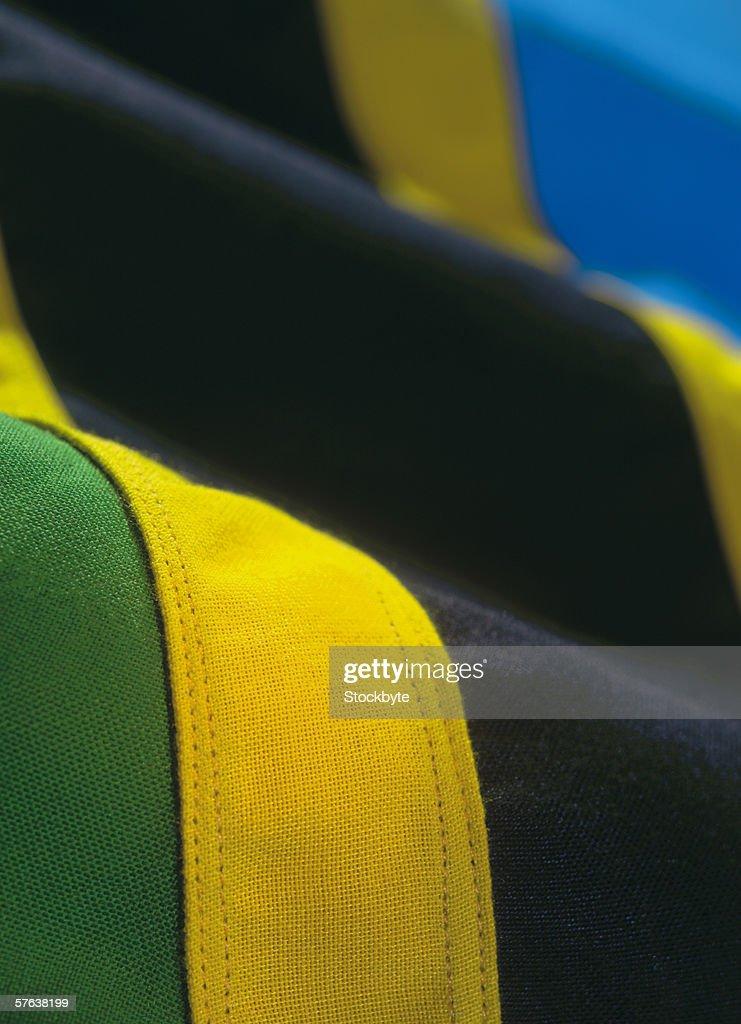 close-up of the flag of Tanzania : Stock Photo