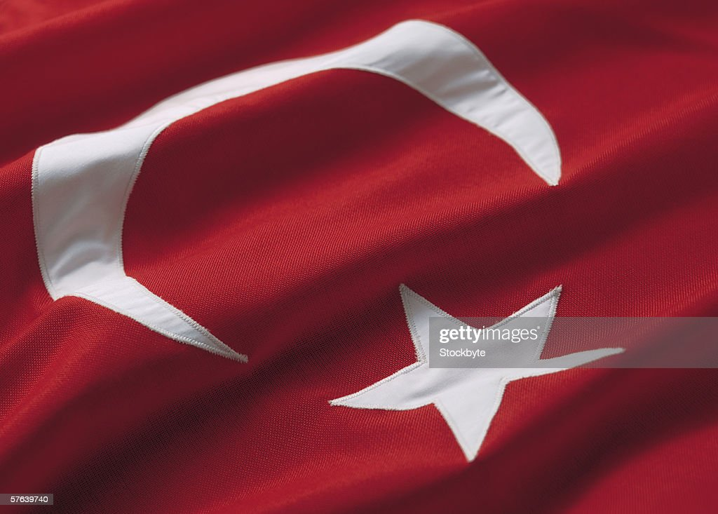 Close-up of the flag of turkey